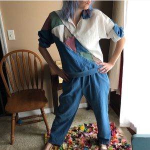 Vintage women's muted blue color block tracksuit